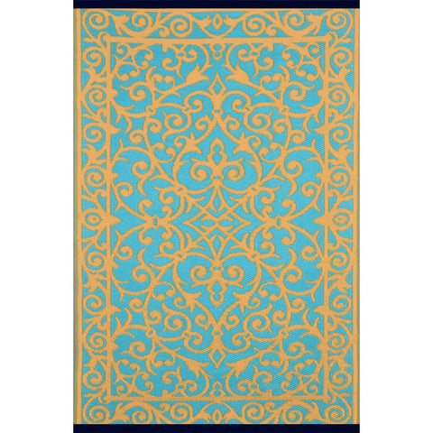 Outdoor Recycled Plastic Gala Saffron and Blue Turquoise Rug-Soft Furnishings-Retail Therapy Interiors
