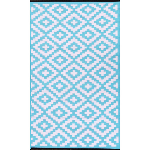 Outdoor Recycled Plastic Nirvana Aqua Sky and White Rug-Soft Furnishings-Retail Therapy Interiors