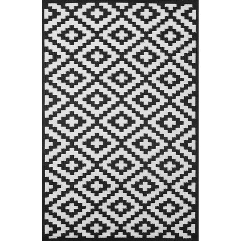 Outdoor Recycled Plastic Nirvana Black and White Rug-Soft Furnishings-Retail Therapy Interiors