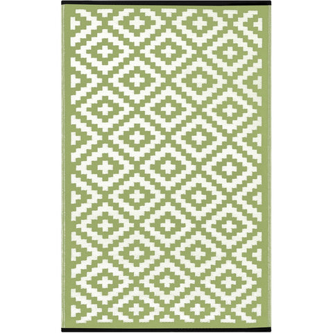 Outdoor Recycled Plastic Nirvana Leaf Green and White Rug-Soft Furnishings-Retail Therapy Interiors