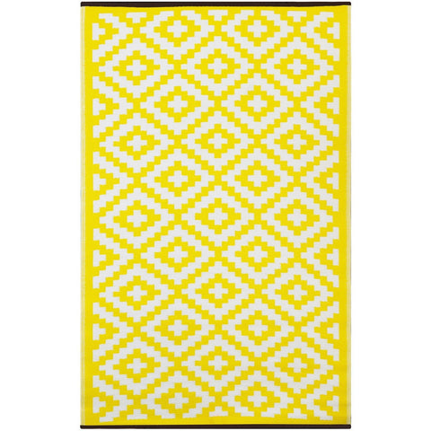 Outdoor Recycled Plastic Nirvana Yellow and White Rug-Soft Furnishings-Retail Therapy Interiors