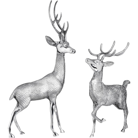 Pair Of Large Silver Metal Stags 50cms-Accessories-Retail Therapy Interiors