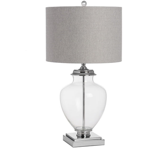 Perugia Glass & Chrome Herringbone Table Lamp 64 cms-Lighting-Retail Therapy Interiors