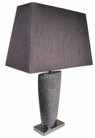Pewter Large Table Lamp With Black Shade-Lighting-Retail Therapy Interiors