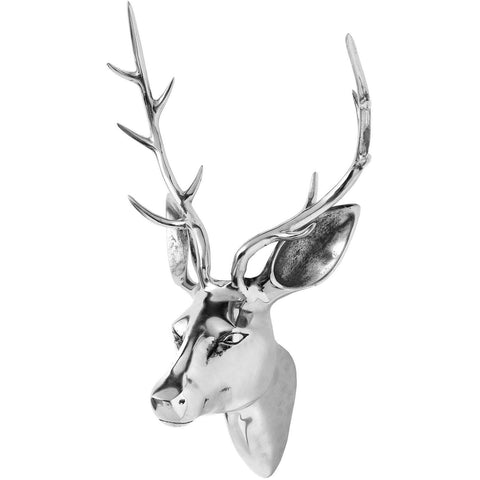 Polished Chrome Silver Stag Head Wall Mounted 45cms-Accessories-Retail Therapy Interiors