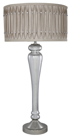 Prestige Table Lamp With Beige Diamante Pleated Shade-Lighting-Retail Therapy Interiors
