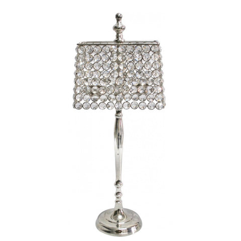 Rectangular Clear Glass Crystal Lamp Style Candle Holder 48cms-Lighting-Retail Therapy Interiors