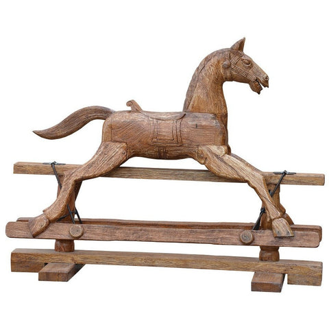 Rustic Wooden Swing Horse-Accessories-Retail Therapy Interiors