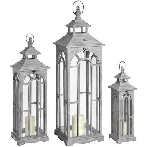 Set Of Three Archway Wooden Lanterns 104cms-Accessories-Retail Therapy Interiors