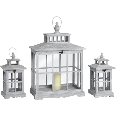 Set Of Three Grey Washed Archway Wooden Lanterns 62.5cms-Accessories-Retail Therapy Interiors