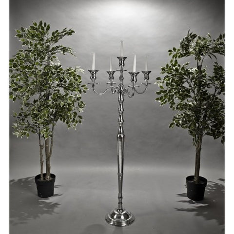 Silver 5 Arm Candelabra 139cms-Accessories-Retail Therapy Interiors