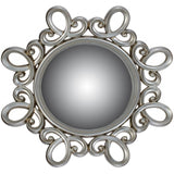 Silver Curly Ornate Round Mirror 90cms-Mirrors-Retail Therapy Interiors