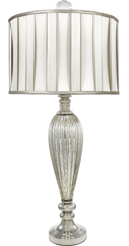 Silver & Mercury Lamp with Ivory & Champagne Shade-Lighting-Retail Therapy Interiors