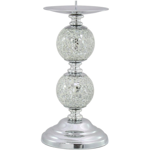 Silver Mosaic Two Ball Candlestick 21cms-Accessories-Retail Therapy Interiors