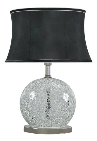 Silver Sparkle Mosaic Oval Table Lamp with Black Shade-Lighting-Retail Therapy Interiors