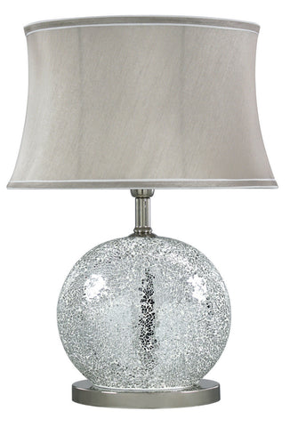 Silver Sparkle Mosaic Oval Table Lamp with Taupe Shade-Lighting-Retail Therapy Interiors