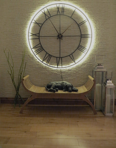 Skeleton Wall Clock With LED Backlight 114cms-Clocks-Retail Therapy Interiors