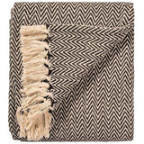Soft 100% Cotton Handloom Chevron Throw Chocolate 125x150cms-Soft Furnishings-Retail Therapy Interiors