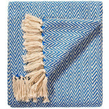 Soft 100% Cotton Handloom Chevron Throw Indigo 125x150cms-Soft Furnishings-Retail Therapy Interiors