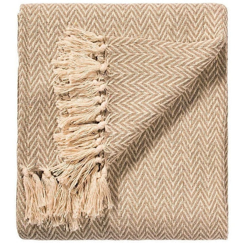 Soft 100% Cotton Handloom Chevron Throw Natural 125x150cms-Soft Furnishings-Retail Therapy Interiors