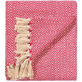 Soft 100% Cotton Handloom Chevron Throw Red 125x150cms-Soft Furnishings-Retail Therapy Interiors