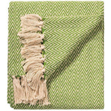 Soft 100% Cotton Handloom Chevron Throw Sage 125x150cms-Soft Furnishings-Retail Therapy Interiors