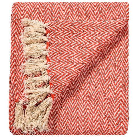Soft 100% Cotton Handloom Chevron Throw Terracotta 125x150cms-Soft Furnishings-Retail Therapy Interiors