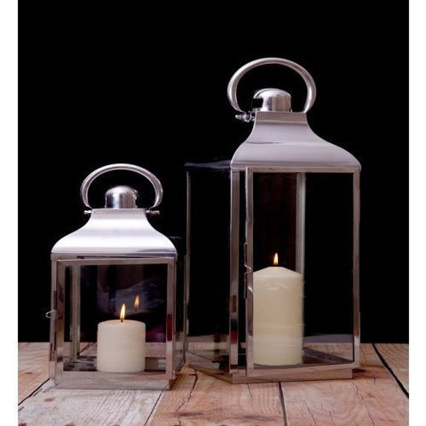 Stainless Steel Glass Lantern Set of 2-Accessories-Retail Therapy Interiors