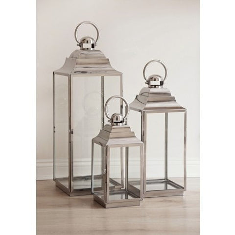 Stainless Steel Lanterns Set of 3-Accessories-Retail Therapy Interiors