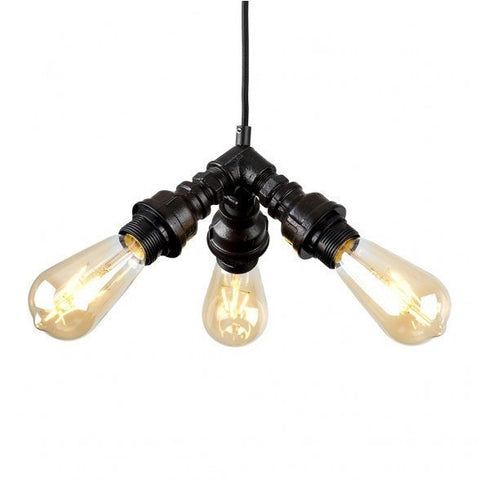 Steampunk 3 Way Pipework Ceiling Light-Lighting-Retail Therapy Interiors