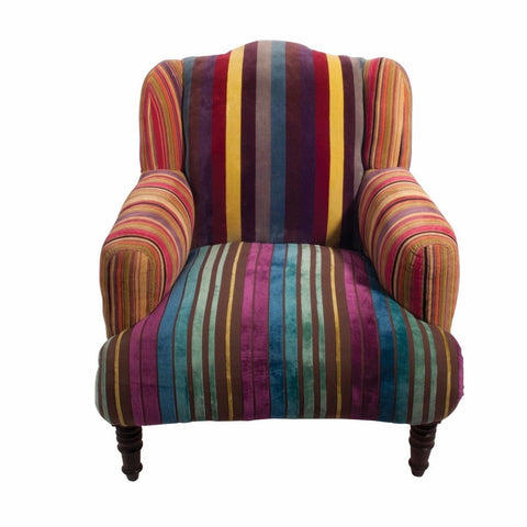 Striped Velvet Armchair-Furniture-Retail Therapy Interiors