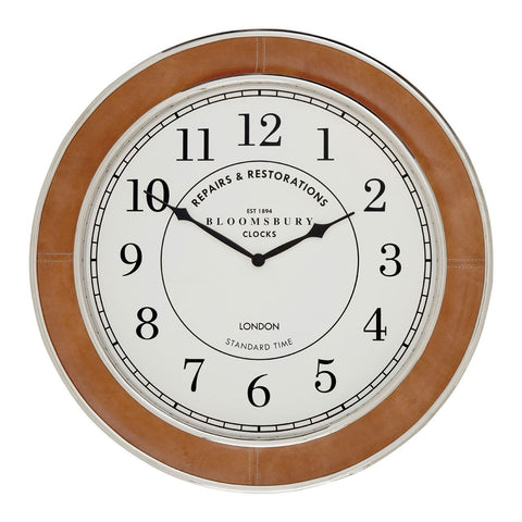 Tan Churchill Wall Clock 58cm-Clocks-Retail Therapy Interiors