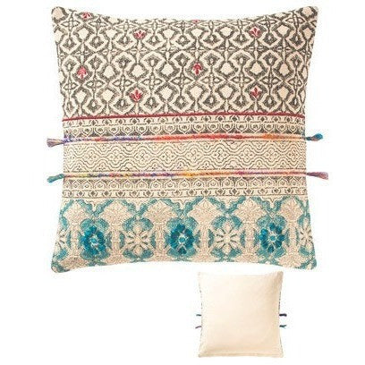 Tribal Block Printed Cotton Cushion D-Soft Furnishings-Retail Therapy Interiors
