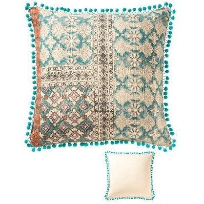 Tribal Block Printed Cotton Cushion E-Soft Furnishings-Retail Therapy Interiors