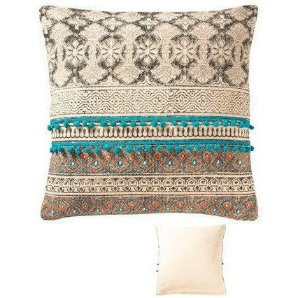 Tribal Block Printed Cotton Cushion F-Soft Furnishings-Retail Therapy Interiors
