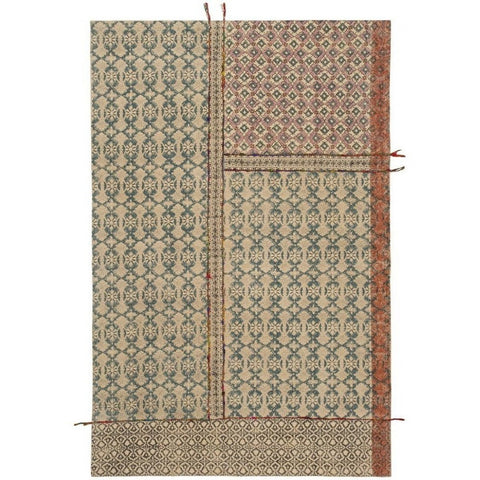 Tribal Block Printed Cotton Embroided Rugs-Soft Furnishings-Retail Therapy Interiors