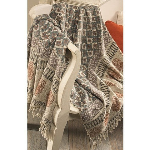 Tribal Block Printed Cotton Throw-Soft Furnishings-Retail Therapy Interiors