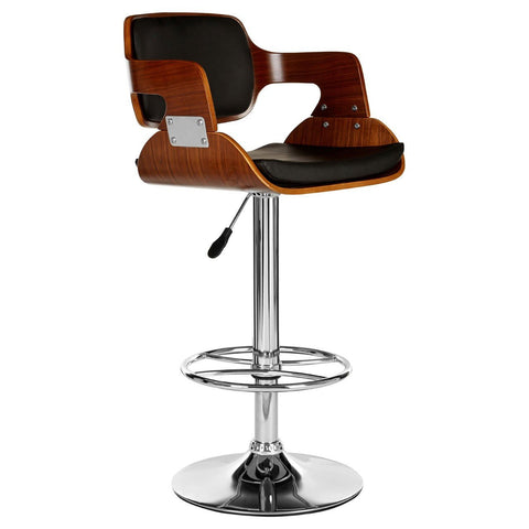 Walnut Black Leather Effect Bar Stool-Furniture-Retail Therapy Interiors