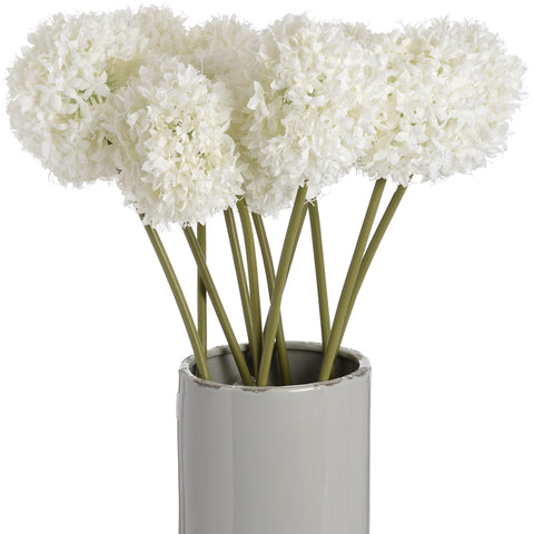White Allium Hydrangea Single Stem 70cms-Accessories-Retail Therapy Interiors