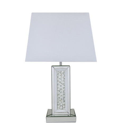 White Mirror Table Lamp With Rectangular White Shade-Lighting-Retail Therapy Interiors