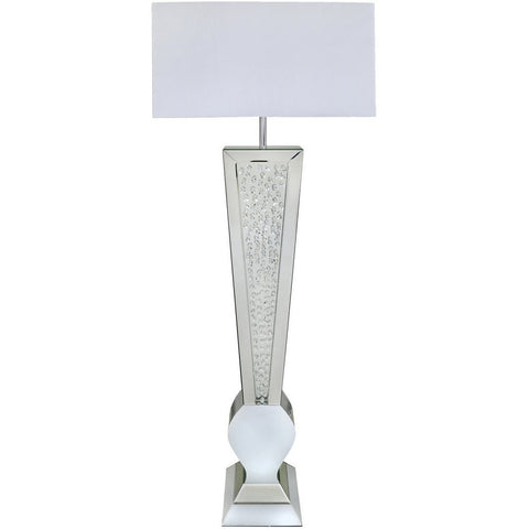 White Mirror V Shape Floor Lamp With Rectangular White Shade-Lighting-Retail Therapy Interiors