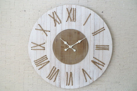 White Washed Wood Wall Clock-Clocks-Retail Therapy Interiors
