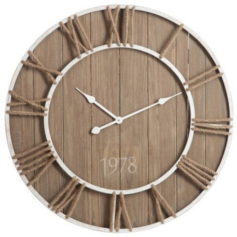 Wood & Rope Skeleton Wall Clock 76cms-Clocks-Retail Therapy Interiors