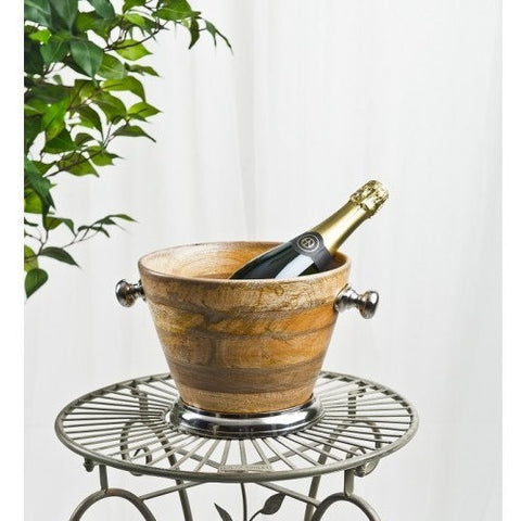 Wooden Ice Bucket Chrome Detail-Kitchenware-Retail Therapy Interiors