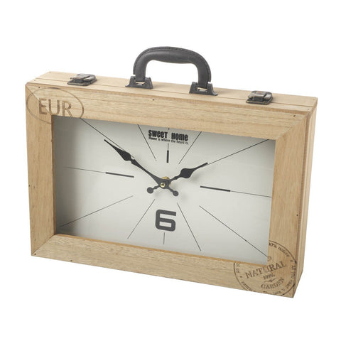 Wooden Suitcase Clock-Clocks-Retail Therapy Interiors