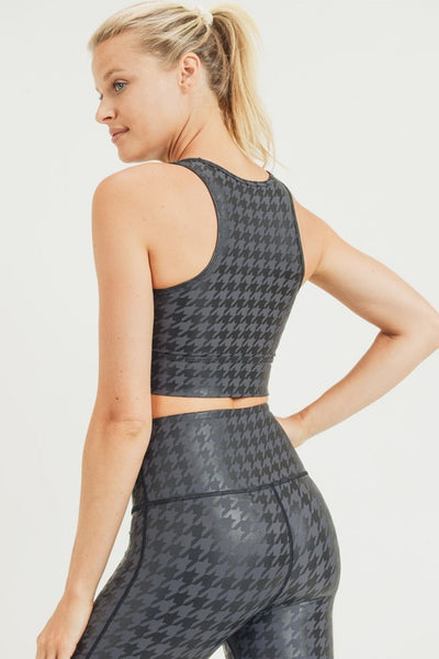 Blackout Houndstooth Sports Bra