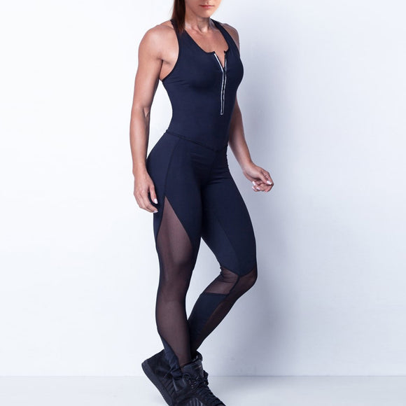 Black V Zipper Mesh Fitness Jumpsuit