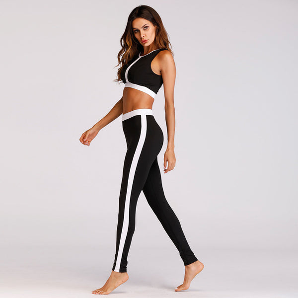 Salt and Pepper High-Waist Fitness 2 Piece set