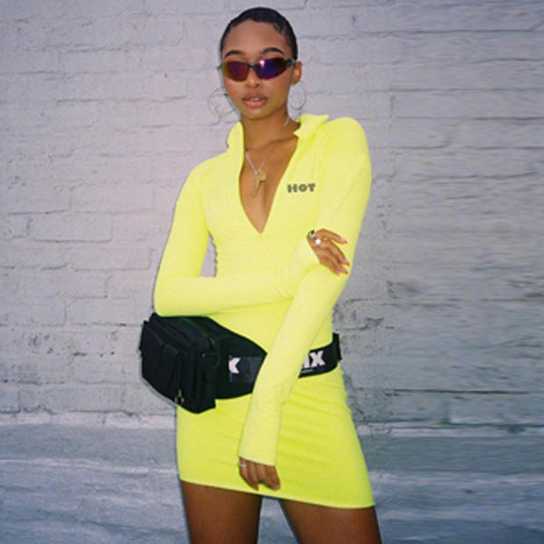 Hot Bawdied Zipper Athleisure Dress
