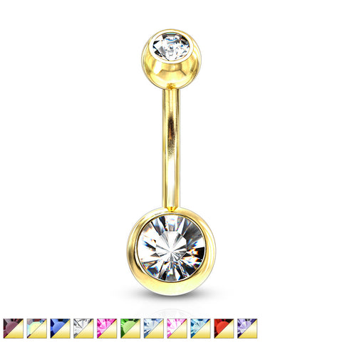 Double Jeweled Gold Navel Bar - Standard